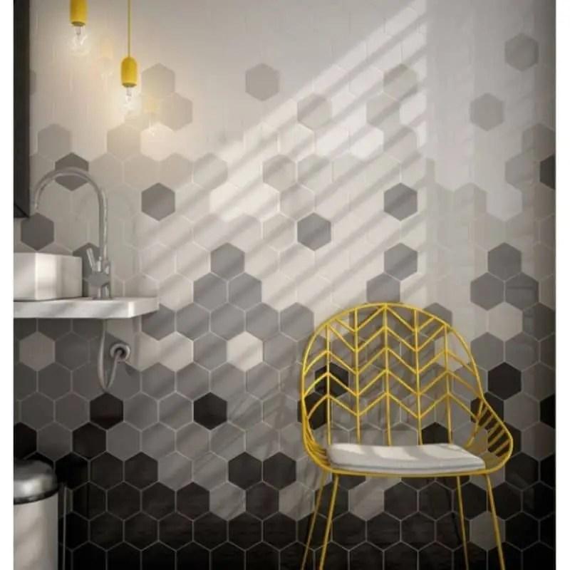 carrelage mural hexagonal noir mat scale 12 4x10 7
