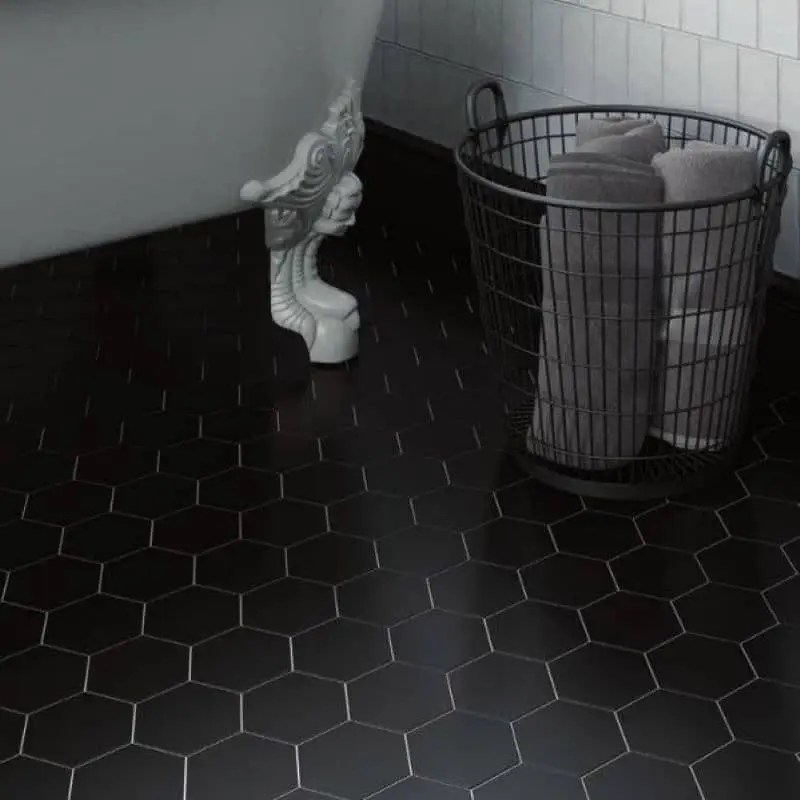 carrelage hexagonal gres cerame scale 11 6x10 1 noir mat