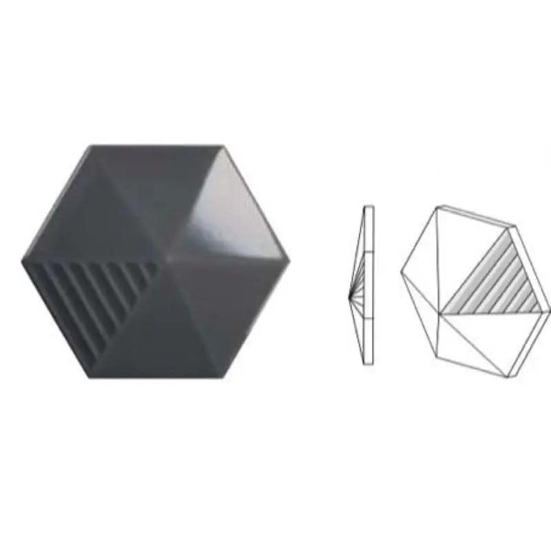 faience relief 3d umbrella hexagone black 12 4x10 7 brillant carrelages 3d