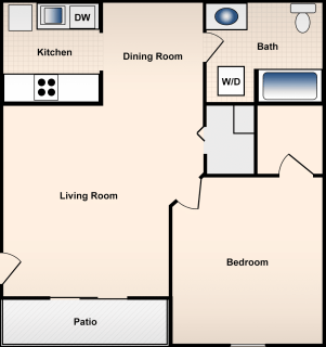 1 Bed / 1 Bath / 850 ft² / Deposit: $300 / Rent: $580