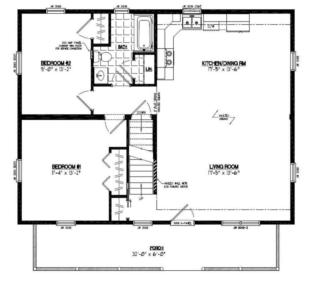 28x36 Mountaineer Deluxe Certified Floor Plan #28MS1402