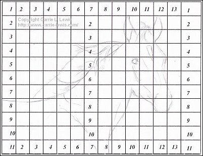 Direct Drawing Tutorial - Palomino Horse - Line Drawing Step 1