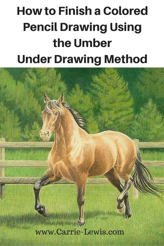 How to Finish a Colored Pencil Drawing Using the Umber Under Drawing Method