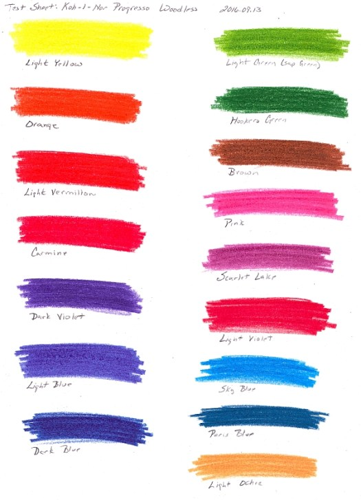 Color Chart for Koh-I-Nor Progresso Pencils