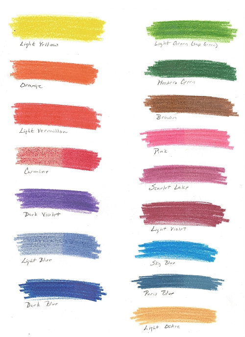 Color Chart for Koh-I-Nor Progresso Pencils 4