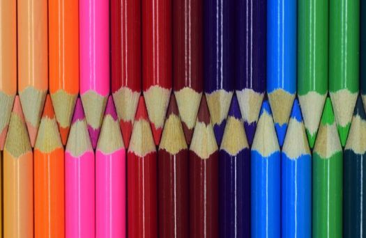 Colored Pencils in two Rows