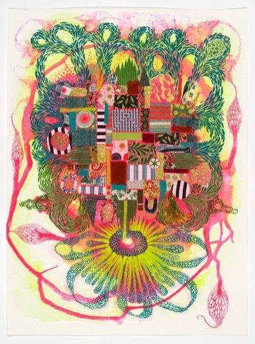 "In My Abstracted Garden II, 2020, gouache / mixed media on paper, 15"" x 19"""