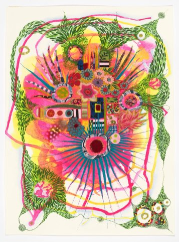 "In My Abstracted Garden III, 2020, gouache / mixed media on paper, 15"" x 19"""