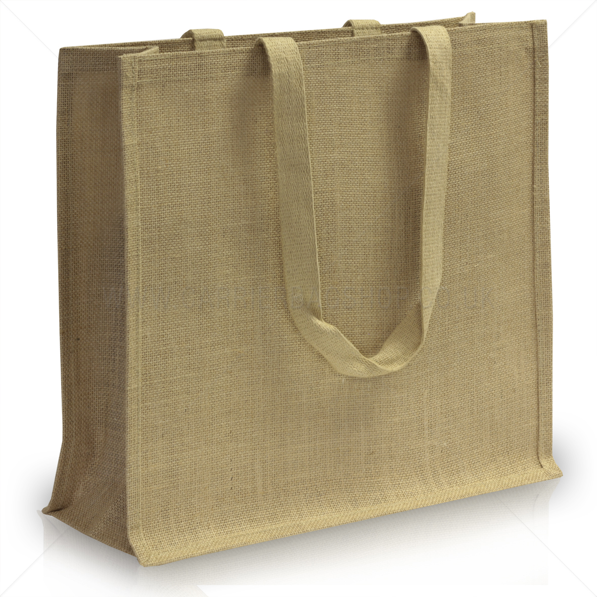 Natural Jute Bags with Long Cotton Tape Handles from