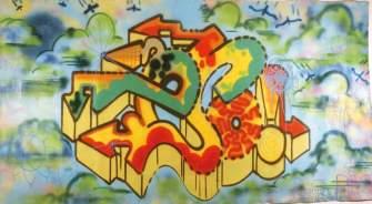 Floating City Painting in the Olanda 1984 Spray su tela cm 325xl75 Bibl. Arte diFrontiera Quattordio Graffiti, Mazzotta 1984 , p. BI