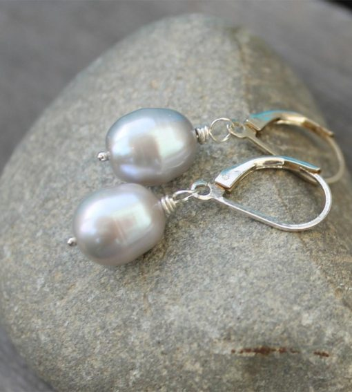Grey pearl drop earrings handcrafted by Carrie Whelan Designs