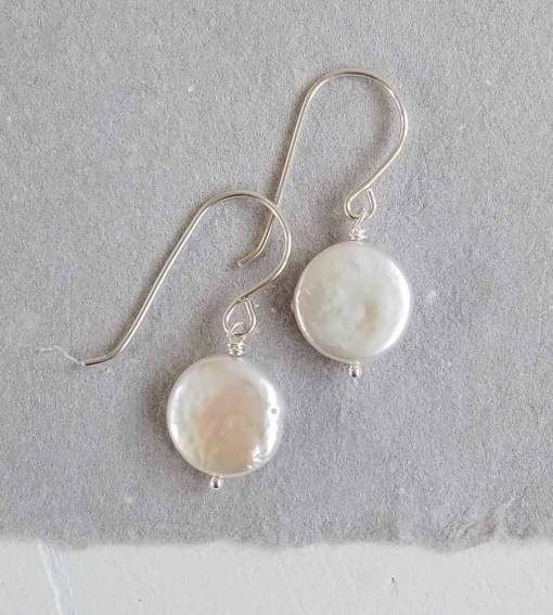 Handcrafted coin pearl and silver earrings by Carrie Whelan Designs