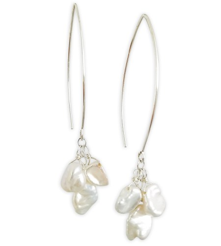 ELISE white keshi pearl cluster earrings with long earwire handcrafted by Carrie Whelan Designs