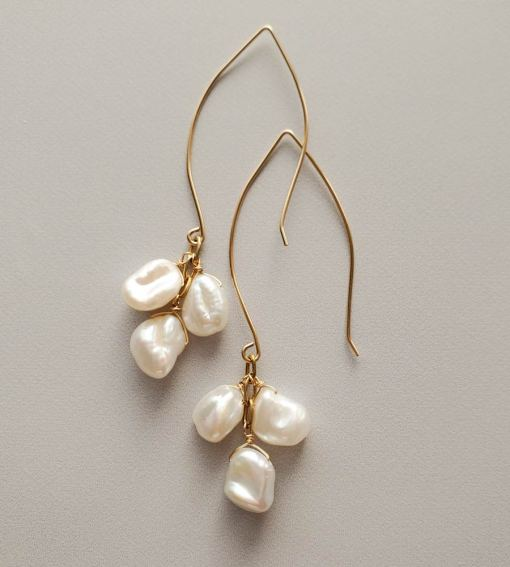 Long keshi pearl cluster earrings in gold handmade by Carrie Whelan Designs