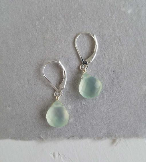 Aqua chalcedony stone earrings in silver handcrafted by Carrie Whelan Designs