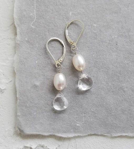 Petite pearl quartz drop earrings handcrafted in silver by Carrie Whelan Designs