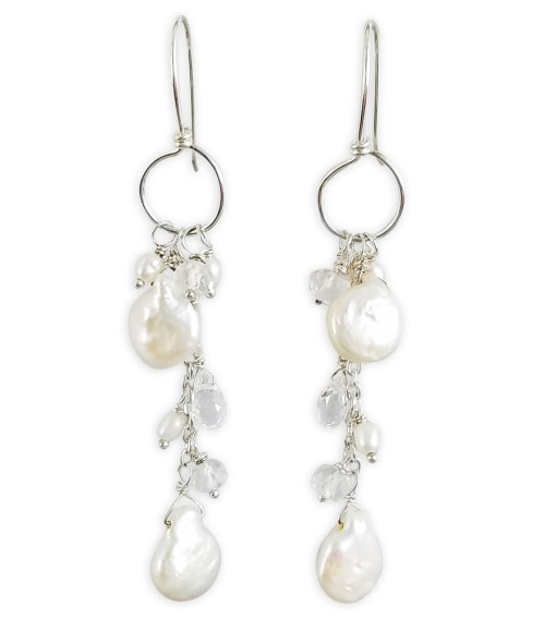 Artisan coin pearl and sterling silver hoop earrings by Carrie Whelan Designs