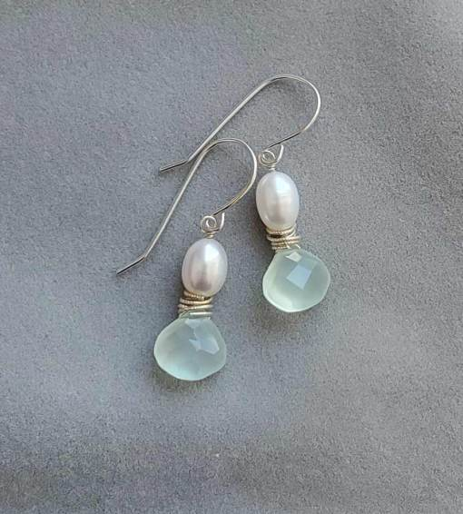 Aqua chalcedony and white pearl, sterling silver earrings by Carrie Whelan Designs