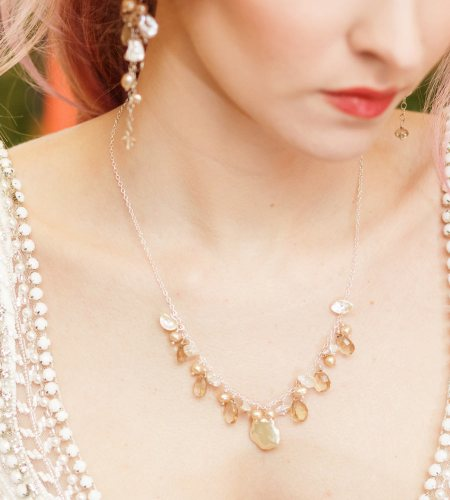Champagne pearl and gemstone cluster necklace handcrafted by Carrie Whelan Designs