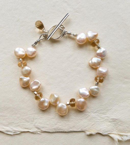 Champagne keshi pearl bracelet in sterling silver by Carrie Whelan Designs