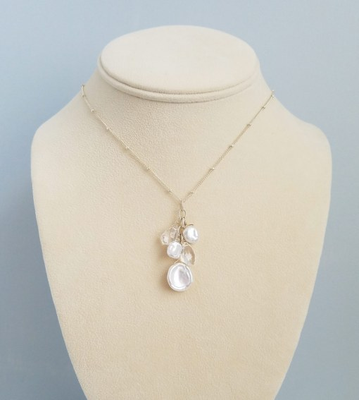 Freshwater pearl and clear gem cluster pendant handcrafted by Carrie Whelan Designs
