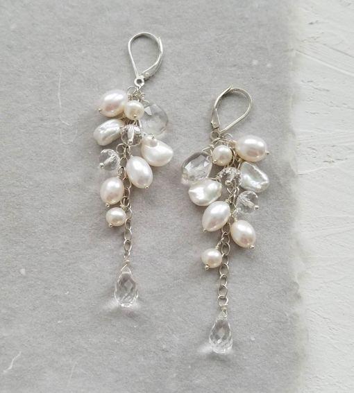 Long pearl and gemstone cluster earrings handmade by Carrie Whelan Designs
