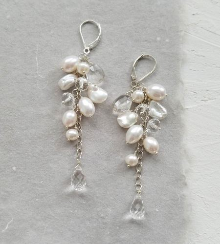 Long pearl and gemstone cluster earrings handmade by Carrie Whelan Designs