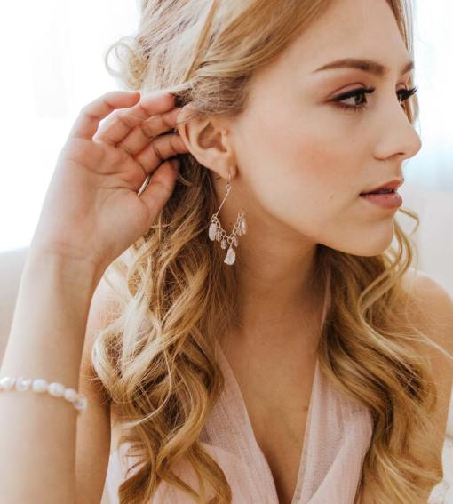 Silver chandelier earrings for wedding handcrafted by Carrie Whelan Designs
