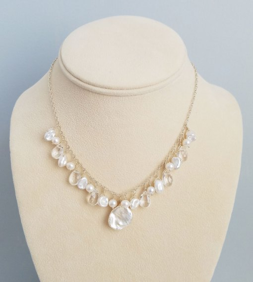White pearl and clear gemstone cluster bridal necklace handcrafted by Carrie Whelan Designs
