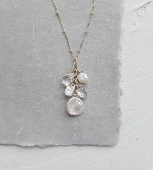 White pearl cluster bridal pendant handcrafted in silver by Carrie Whelan Designs