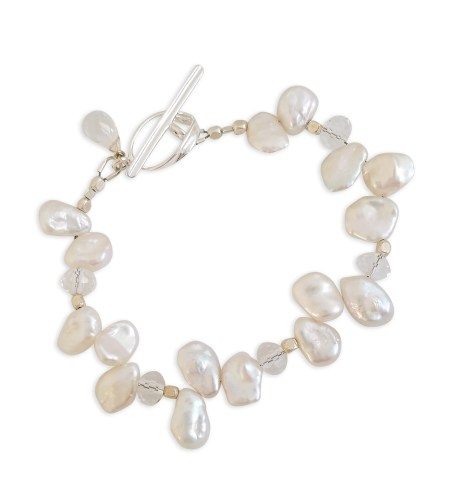 White keshi pearl bracelet handcrafted by Carrie Whelan Designs