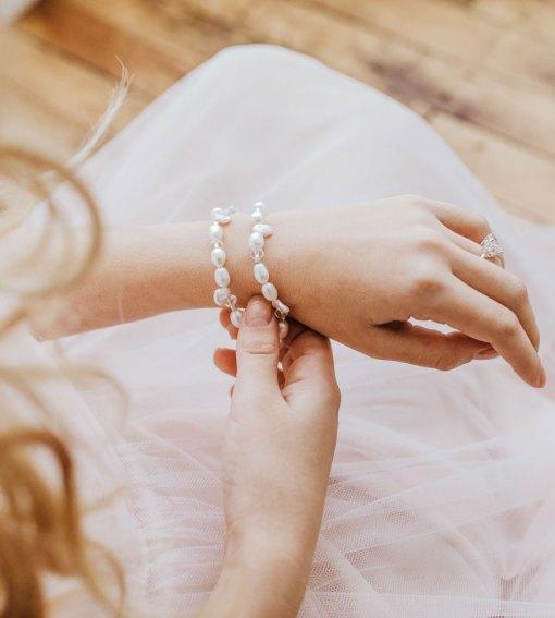Keshi pearl multi-strand bracelet handcrafted by Carrie Whelan Designs