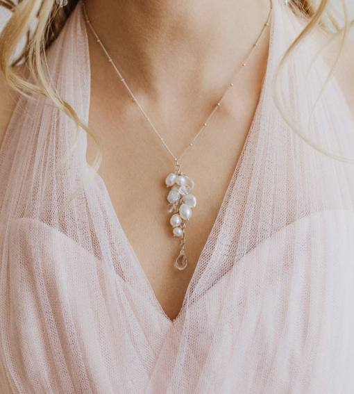 Pearl cluster bridal necklace handcrafted by Carrie Whelan Designs