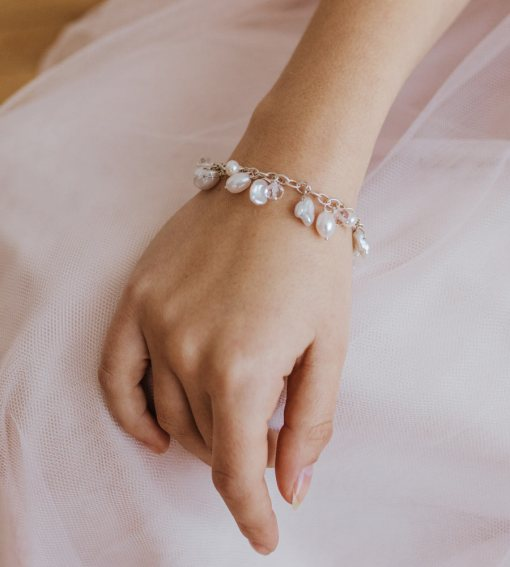 Silver chain and pearl bracelet handcrafted by Carrie Whelan Designs