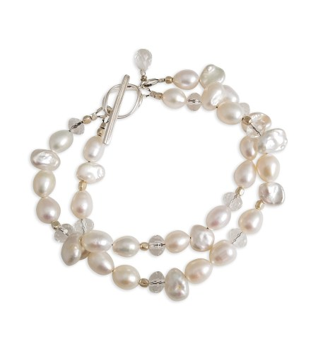 white layered pearl bracelet handcrafted by Carrie Whelan Designs