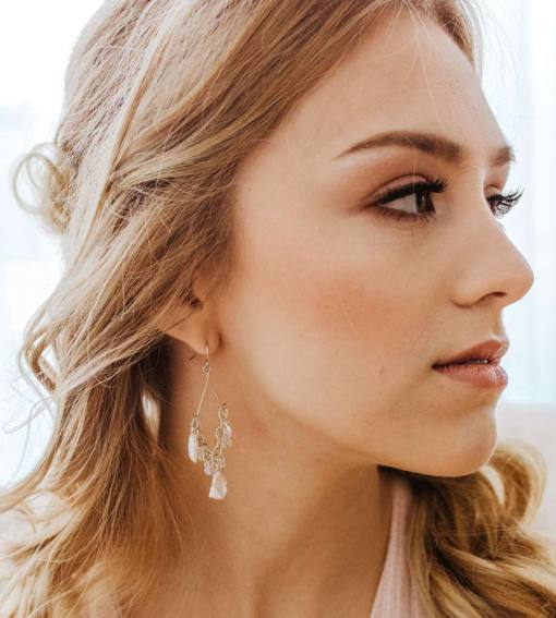 White pearl bridal chandelier earrings handcrafted by Carrie Whelan Designs