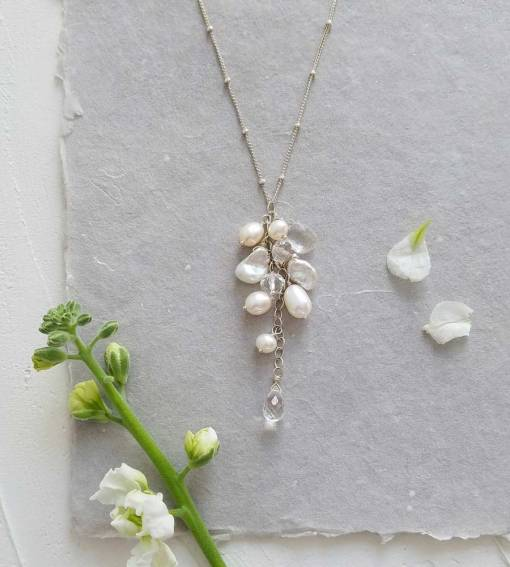 white pearl cluster bridal pendant in silver by Carrie Whelan Designs
