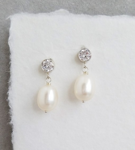 Cubic zirconia and pearl earrings for bride handcrafted by Carrie Whelan Designs