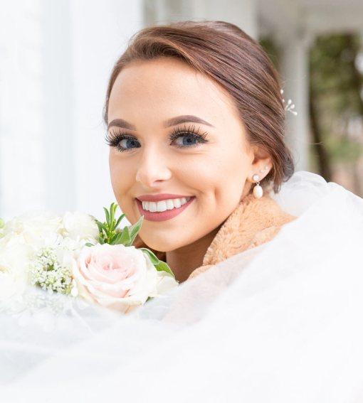 Bridal earrings in freshwater pearl handcrafted by Carrie Whelan Designs
