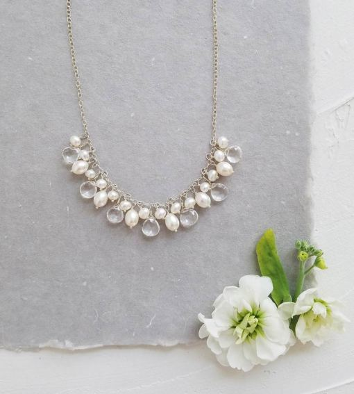 Handcrafted white pearl bridal necklace handcrafted by Carrie Whelan Designs