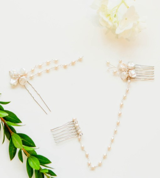 Handmade pearl bridal accessories by Carrie Whelan Designs