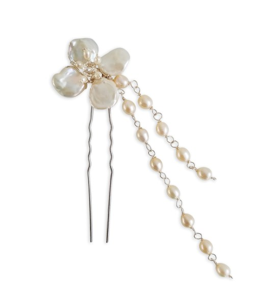 Floral hairpin with pearl chain handcrafted by Carrie Whelan Designs