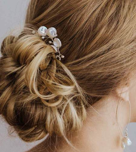 White pearl floral hair pin for wedding handcrafted by Carrie Whelan Designs