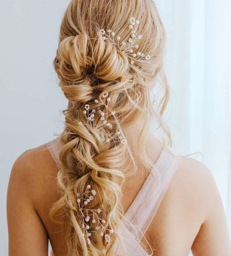 Pearl bridal hair pin handmade by Carrie Whelan Designs