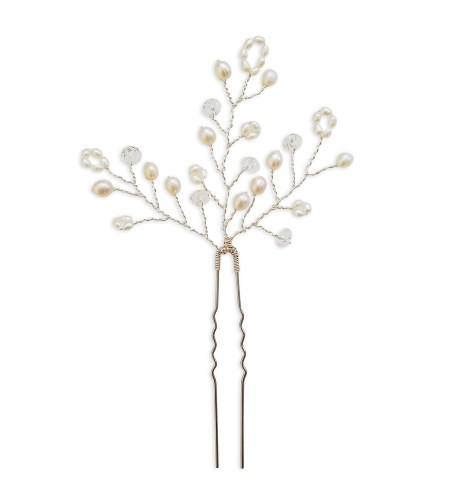 Pearl and Swarovski crystal bridal hair pin handmade by Carrie Whelan Designs