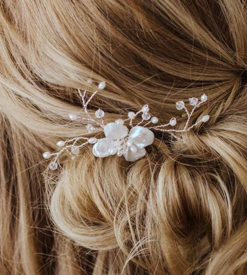 Pearl and crystal hair comb for weddings handcrafted by Carrie Whelan Designs