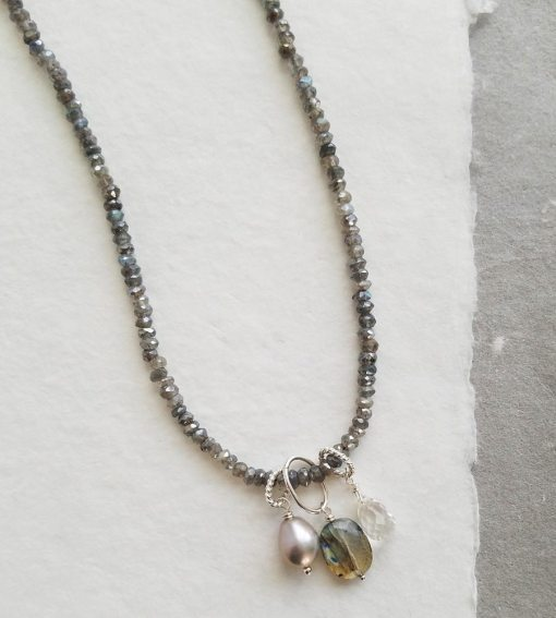Labradorite cluster gemstone necklace handcrafted by Carrie Whelan Designs