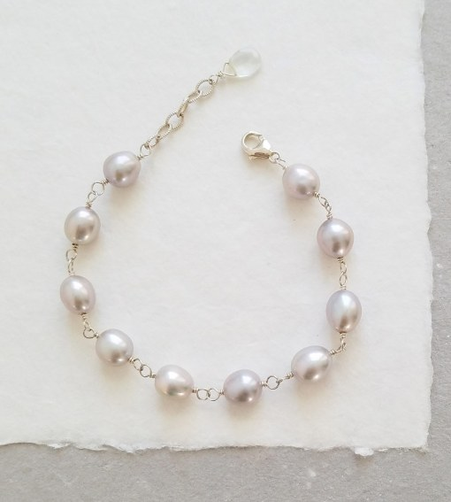 Large gray freshwater pearl bracelet wire wrapped in silver by Carrie Whelan Designs