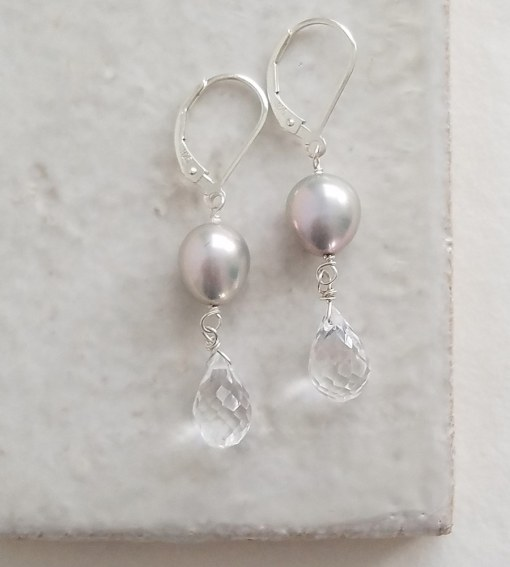 Gray pearl and quartz drop earrings handmade by Carrie Whelan Designs