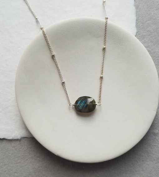 Labradorite choker necklace made with silver chain handcrafted by Carrie Whelan Designs